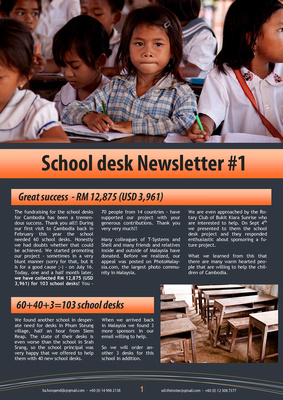 School desks for Cambodia